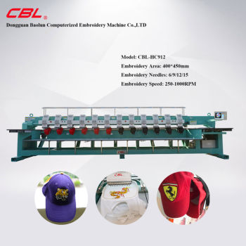 12 Head High Speed Cap and Tubular Embroidery Machine